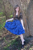 blue made by me skirt - black Forever21 top - black Sam Eldeman shoes