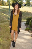 mustard RVCA dress - black Jeffrey Campbell boots - black free people hat