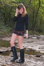 Navy-rain-boots-hunter-boots-navy-cable-knit-abercrombie-and-fitch-sweater