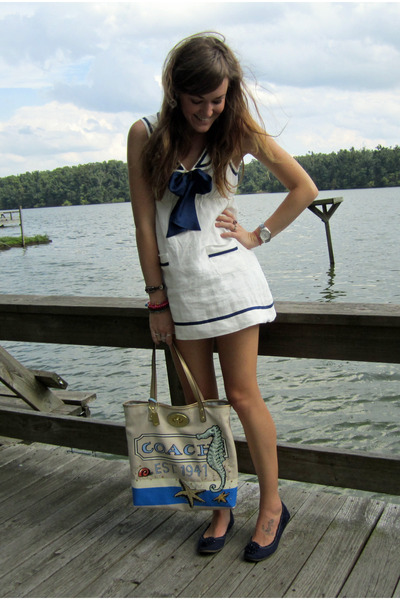 beige coach bag - blue Payless shoes - white sailor Forever21 dress