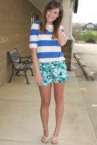 blue Forever 21 shorts - blue striped Forever 21 top