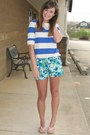 Blue-forever-21-shorts-blue-striped-forever-21-top