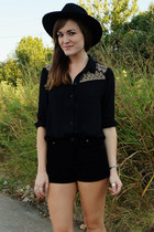 black H&M hat - black Forever21 shorts - black Forever 21 top