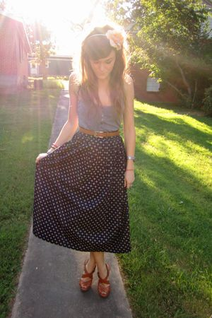 beige Forever21 accessories - gray hollister top - blue thrifted skirt - brown t