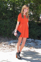 orange Forever21 dress - black litas Jeffrey Campbell shoes