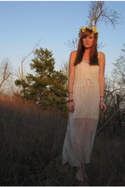 white Urban Outfitters dress - light yellow flower crown DIY accessories