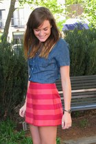 navy chambray J Crew top - hot pink striped asos shorts