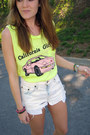 White-thrifted-diy-shorts-yellow-wildfox-couture-top