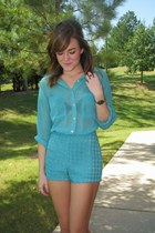 aquamarine houndstooth American Apparel shorts - aquamarine American Apparel top
