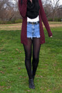 Navy-diy-thrifted-shorts-black-thrifted-boots-black-forever21-scarf