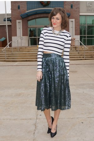teal asos skirt - black vintage PRADA heels - white Forever 21 top