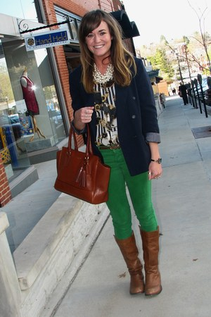 blue thrifted blazer - brown coach purse - blue Forever 21 blouse