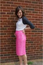 bubble gum sequin J Crew skirt - white baseball Forever 21 shirt