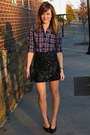 Crimson-plaid-abercrombie-and-fitch-shirt-black-thrifted-purse
