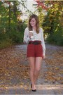 Burnt-orange-forever-21-shorts-black-thrifted-belt-ivory-forever-21-top