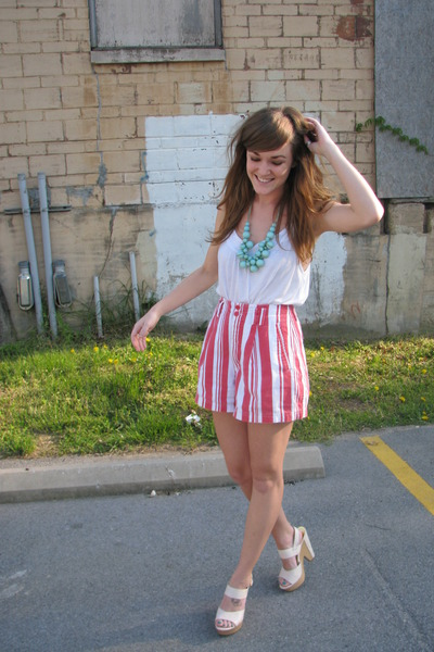 red Goodwill shorts - white on sale BCBG shoes - green random boutique necklace