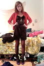 Red-vintage-cardigan-black-vintage-slip-dress-gray-h-m-tights-purple-wet-s