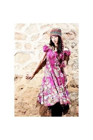 magenta dress - amethyst dress - light brown accessories - violet accessories