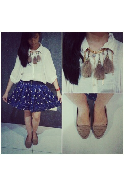 Forever 21 skirt - Bubbles necklace - sheer thrifted top - loafers