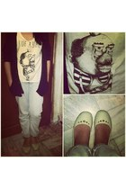 artwork top - Fox jeans - knitted Forever 21 cardigan - Crocs flats