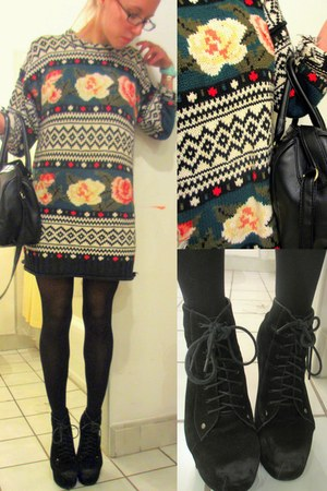 black crazy printed Express sweater - H&M bag