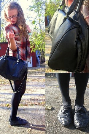 plaid hollister shirt - black body-con Forever 21 dress - black perfect H&M bag