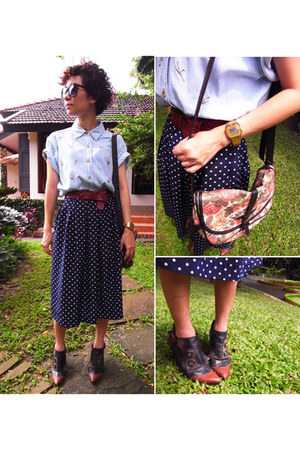 navy polka dot skirt skirt - sky blue 2nd hand jeans shirt shirt