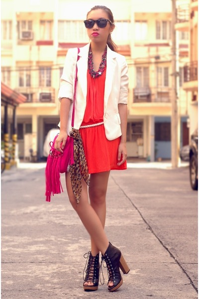 Red Dresses, White Zara Blazers, Hot Pink Fringe Bags, Black ...