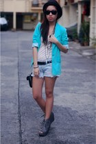 aquamarine KOB blazer - white shirt - light blue shorts - heather gray shoes - b