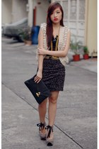 tan debenhams vest - black cole vintage bag - leopard skirt - gold accessories