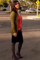 green twelve by twelve cardigan - pink Forever21 shirt - blue Forever21 skirt -