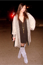 black Sparkle & Fade dress - beige vintage sweater - gray Chinese Laundry boots