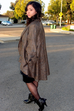 black Forever21 dress - black James Perse shirt - brown vintage jacket - black c