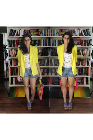 yellow Zara blazer - floral print Zara bodysuit - blue Charles & Keith wedges