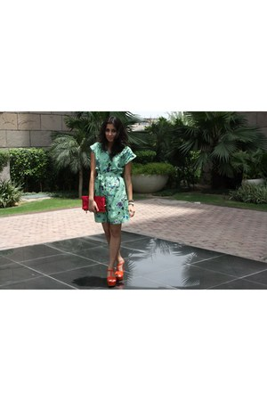 orange Zara wedges - printed Josh Brody dress