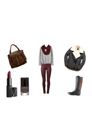 Hunter boots - Forever 21 jacket - knitted grey sweater - knited Pimkie scarf