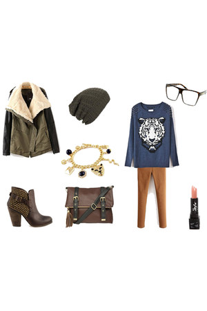 leather boots - coat - blue sweater - leather Peacocks bag - elastic romwe pants