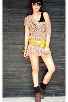 brown chocolate dress - black Topshop top - blue Topshop shorts - gold BCBG belt