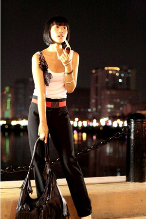 Glitterati top - FCUK belt - Viceversa pants - Topshop sunglasses - Matthews sho