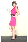 Hot-pink-glitterati-dress-ivory-silk-audrey-bags-purse-black-lyn-heels-bla