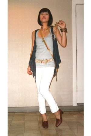 Promod vest - Topshop top - Grab jeans - Bally shoes - Hunterland purse - vintag