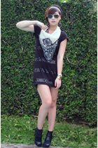 gold calvin klein sunglasses - black Oscar de la Renta scarf - black H&M dress -