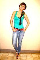 green Topshop top - black Zara top - red FCUK belt - blue Hudson jeans - yellow