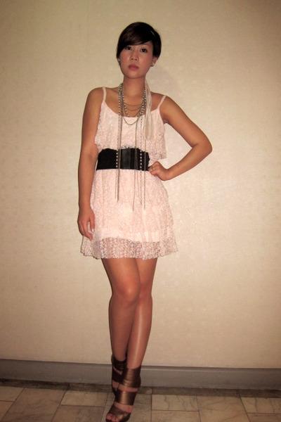 pink Glitterati dress - black Grommet by Glitterati belt - brown random on-line