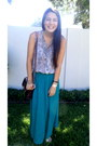 Leopard-print-blouse-gold-sandals-teal-skirt