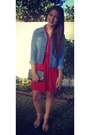 Red-flowy-dress-denim-jacket-black-clutch-bag-nude-open-toe-wedges