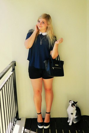 black colette hayman bag - navy Zara top - black rubi heels