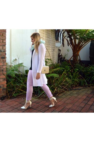 white cotton on jacket - light blue cotton on scarf - beige Zara bag