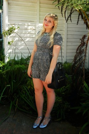 black colette hayman bag - silver joyful pewter Topshop heels