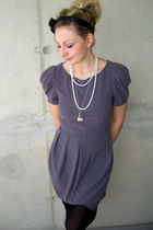 silver Topshop dress - black Tally Weijl tights - white vintage necklace - silve